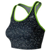 New Balance Accelerate Crop Top Print, Black with Lime Glo