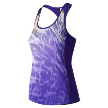 New Balance NB Ice Printed Tank, Deep Violet with Electric Glow & White