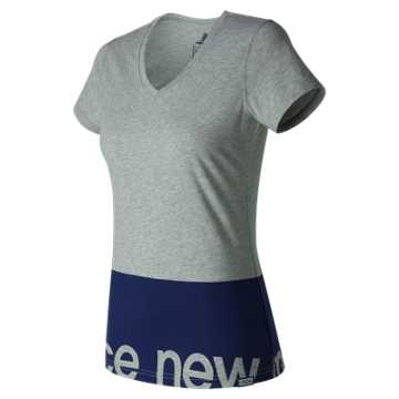 New Balance Classic V Neck Tee, Athletic Grey
