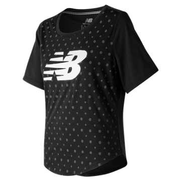 New Balance Womens Trackster SS Top, Black