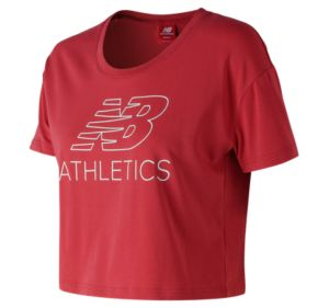 뉴발란스 New Balance Womens NB Athletics Cropped Tee,Red