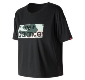 뉴발란스 New Balance Womens Essentials Aqua Camo Boxy Tee,Black