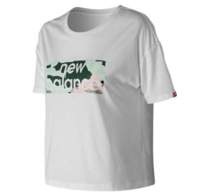 뉴발란스 New Balance Womens Essentials Aqua Camo Boxy Tee,White