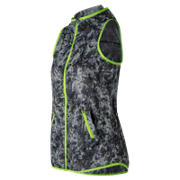 New Balance Windcheater Printed Vest, White with Black & Lime Glo