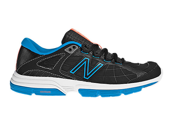 New Balance 813, Black with Electric Blue & Orange