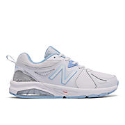 New Balance 857v2, White with Light Blue