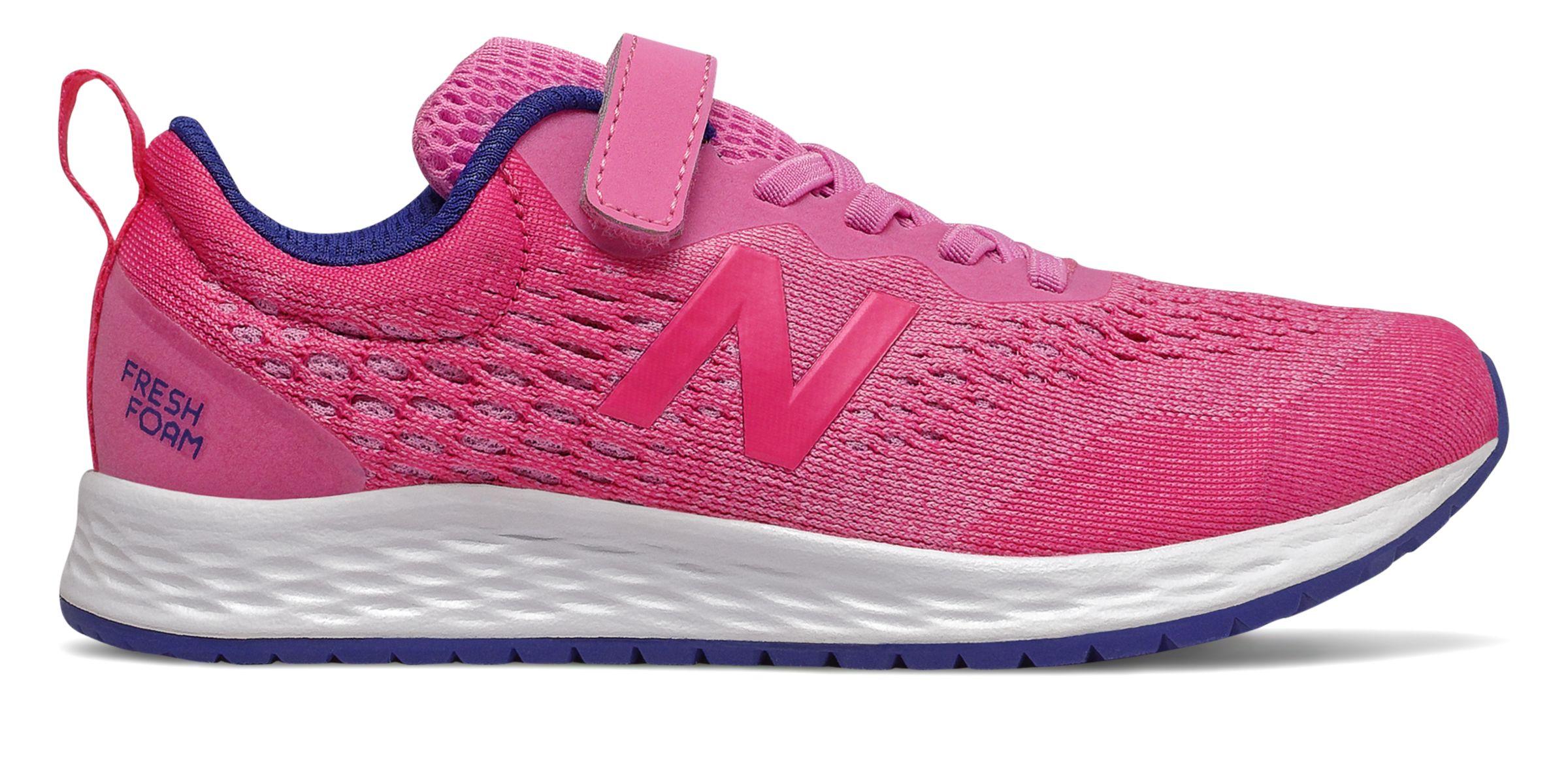 Niñas New Balance Fresh Foam Arishi - Candy Pink/Exuberant Pink/Marine Blue, Candy Pink/Exuberant Pink/Marine Blue