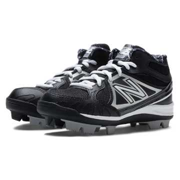 New Balance Mid-Cut 3000 Rubber Molded Cleat, Black with Silver