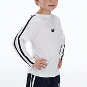 Youth Athletic Long Sleeve Top, White with Black