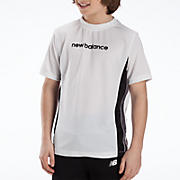 Youth Athletic Short Sleeve Top, White with Black