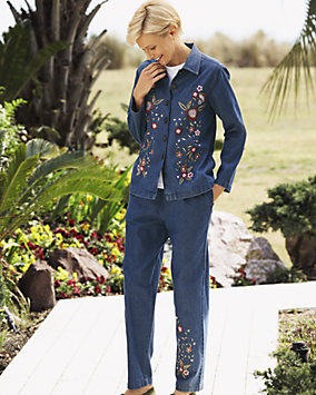 Embroidered Denim Pants Set