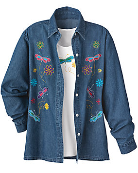 Embroidered Denim Shirt w/ FREE Tank