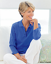 UltraSofts® ¾ Sleeve Knit Polo