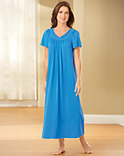 Embroidered Tricot Long Nightgown