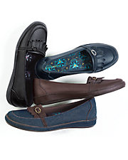 Carmen Denim and Leather Slip-On Shoes