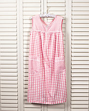 Pliss Gingham Sleeveless Lounge Dress
