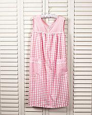 Pliss Gingham Sleeveless Lounge Dress