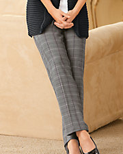 Black Plaid Pull-On Pants