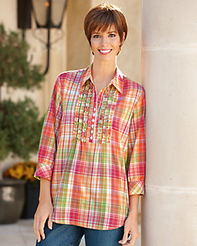 Ruffle Plaid Big Shirt