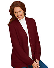 Wine Textured V-neck Cardigan