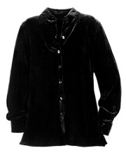 Black Stretch Velvet Big Shirt