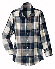 Navy Plaid Cotton Shirt