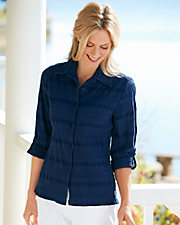 Smocked Button-Front Shirt