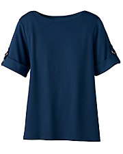 Navy Roll Tab Sleeve Tee
