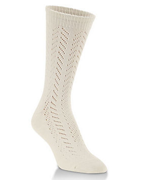 Pointelle Knit Crew Socks
