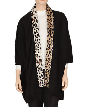 Fleece Leopard Trimmed Ruana
