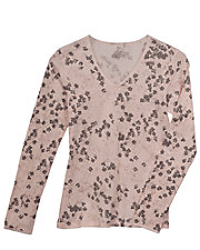 Pink Print Cuddl Duds Long Sleeve Lace Thermal Top
