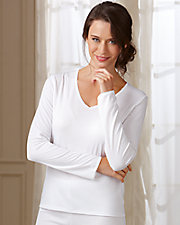 Cuddl Duds® Lace Trim Long Sleeve Thermal Top