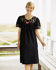 Black Denim Embroidered Dress