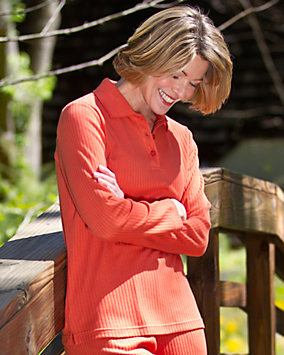 Pumpkin Drop-Needle Stitch Henley Top