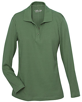 Drop-Needle Stitch Henley Top