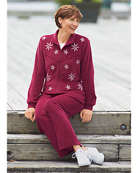 Wine Snowflake Velour Pants Set