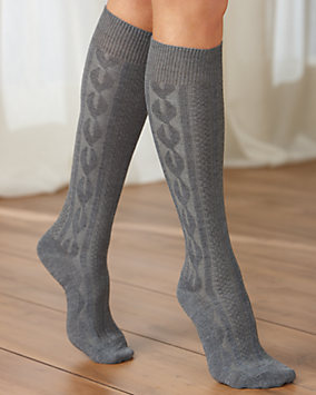 Cable Knit Knee Socks