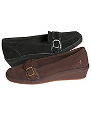 Cerise Suede Buckle Slip-On Shoes