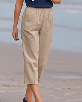 Cotton Twill Crop Pants