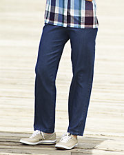 Cotton Denim Pull-On Pants
