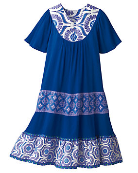 Cobalt Tiered Crinkle Cotton Dress