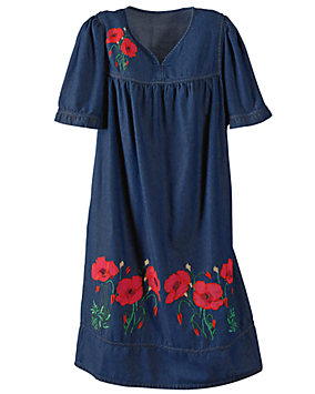 Embroidered Poppy Dress