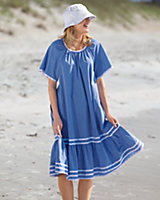 Plaid Trim Chambray Dress
