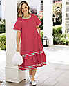 Plaid Trim Chambray Dress