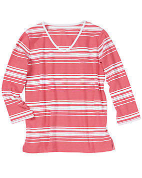 UltraSofts® V-neck Striped Tee