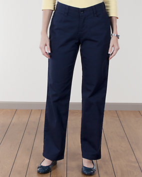 Navy Plain Front Twill Pants
