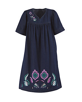 Vintage Embroidered Denim Dress