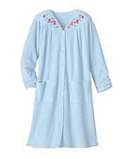 Plush Embroidered Snap Robe