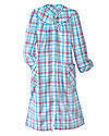 Plaid Microfleece Snap Front Robe