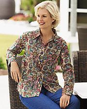Fall Floral Print Shirt